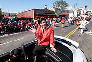 US Congresswoman Judy Chu waves with parade goers during the 119th annual Chinese New Year &quot;Golden Dragon Parade&quot; in the streets of Chinatown in Los Angeles, the United States, Saturday Feburary 17, 2018. (Xinhua/Zhao Hanrong)<br /> 2月17日,在美国洛杉矶,华裔议员赵美心在游行队伍中向人们挥手。当日,第119届金龙大游行在洛杉矶举行,庆祝中国农历新年。 (Photo by Ringo Chiu)<br /> <br /> Usage Notes: This content is intended for editorial use only. For other uses, additional clearances may be required.