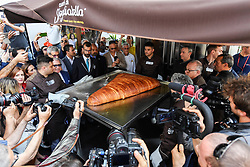 Twenty kilos of semolina, thirty kilos of ricotta, twenty of sugar, six of candied oranges to make one of the typical Neapolitan cakes, for a total of 75 kilos of ingredients. A Guinness sfogliatella was made in Naples. The event took place in Piazza Garibaldi, a crossroads of tourists and curious. A large oven built for the occasion hosted the cooking of the largest sfogliatella in the world commissioned by Antonio Ferrieri, patron of Cuori di sfogliatella, who made the core business of his company of the most representative dessert of the city of Naples. 25/05/2018 - Naples, Italy