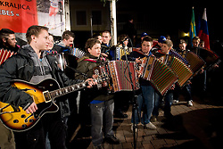 Young musicians Pustotniki at reception of Slovenian athlete Petra Majdic at her home town when she arrived home with small cristal globus at the end of the nordic season 2008/2009, on March 24, 2009, in Dol pri Ljubljani, Slovenia. (Photo by Vid Ponikvar / Sportida)