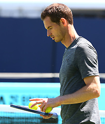 June 18, 2018 - London, England, United Kingdom - Andy Murray (GBR) practicing before his first game against Nick Kyrgios (AUS)..during Fever-Tree Championship at The Queen's Club, London, on 18 June 2018  (Credit Image: © Kieran Galvin/NurPhoto via ZUMA Press)