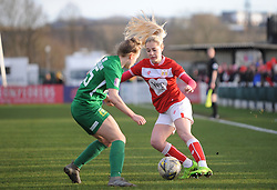 Poppy Pattinson of Bristol City is challenged by Charlotte Buxton of Yeovil Town Ladies- Mandatory by-line: Nizaam Jones/JMP - 27/01/2019 - FOOTBALL - Stoke Gifford Stadium - Bristol, England - Bristol City Women v Yeovil Town Ladies- FA Women's Super League 1