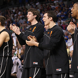 Mar 17, 2011; Tampa, FL, USA; The Princeton Tigers bench reacts after tying the game during the first half of the second round of the 2011 NCAA men's basketball tournament against the Kentucky Wildcats at the St. Pete Times Forum.  Mandatory Credit: Derick E. Hingle
