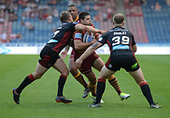 Jake Mamo of Huddersfield Giants is tackled high during the Betfred Super League match at the John Smiths Stadium, Huddersfield<br /> Picture by Richard Land/Focus Images Ltd +44 7713 507003<br /> 12/07/2018