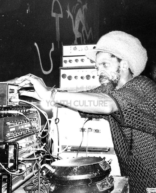Reggae DJ Jah Shaka at the decks, The Dome, Tuffnell Park, London, UK, 1989