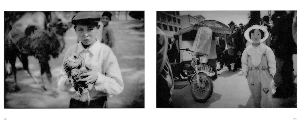 L:  Uighur boy holding an owl at the animal market, Yopchan, Chinese Turkestan.  2002..R:  Tibetan girl at scene of an accident, Zhongdian, Yunnan, China.  1997