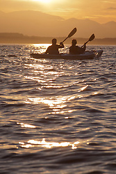 North America, United States, Washington, Seattle, double kayak in Elliott Bay at sunset