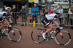 The peloton ups the pace in the final lap of Stage 3 of the Healthy Ageing Tour - a 154.4 km road race, between  Musselkanaal and Stadskanaal on April 7, 2017, in Groeningen, Netherlands.
