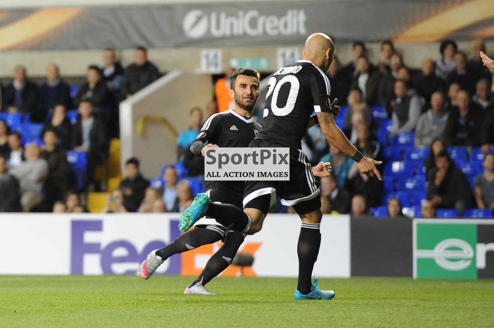 Qarabags Richard Almeida celebrates giving his side the lead from the spot during the Tottenham v Qarabag match in the Europa League group stage