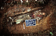 The remains of a man, who died and was buried in a clandestine grave during the civil war,  being exhumed by the &lsquo;Paz y Reconcilaci&oacute;n&rsquo; forensic team.<br /> Nebaq, El Quiche, Guatemala August 2000.