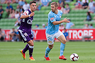 MELBOURNE, VIC - MARCH 03: Melbourne City midfielder Luke Brattan (26) defends the ball at the round 21 Hyundai A-League soccer match between Melbourne City FC and Perth Glory on March 03, 2019 at AAMI Park, VIC. (Photo by Speed Media/Icon Sportswire)