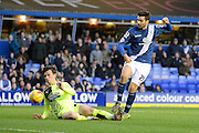Birmingham City midfielder Jon Toral gets in a shot during the Sky Bet Championship match between Birmingham City and Huddersfield Town at St Andrews, Birmingham, England on 5 December 2015. Photo by Alan Franklin.