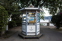 VERBANIA, ITALY - 18 APRIL 2017: A postcard stand is seen here by the Lake Maggiore in Verbania, Italy, on April 18th 2017.<br /> <br /> Emma Morano was an Italian supercentenarian who, prior to her death at the age of 117 years and 137 days, was the world's oldest living person whose age had been verified, and the last living person to have been verified as being born in the 1800s. She died on April 15th 2017.