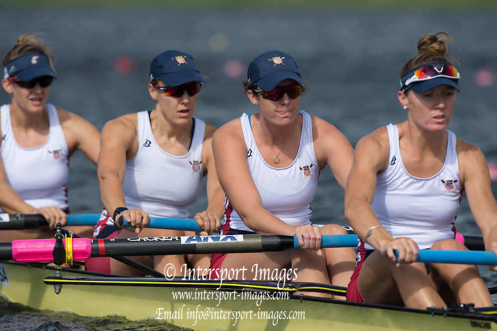 Rotterdam. Netherlands. USA W4-.  Bow. Molly BRUGGEMAN, Emily HUELSKAMP, Corinne SCHOELLER and Kristine O'BRIEN, WRCH2016} at the Willem-Alexander Baan.   Monday  22/08/2016 <br /> <br /> [Mandatory Credit; Peter SPURRIER/Intersport Images]