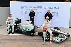 01.02.2011, Street Circuit. Jerez, ESP, Formel 1 Test 1 Valencia 2011,  im Bild  Mercedes W02 Launch 2011 - Nico Rosberg (GER), Mercedes GP - Ross Brawn (GBR) Team Owner, Brawn GP F1 Team - Norbert Haug (GER), Mercedes, Motorsport chief - Michael Schumacher (GER), Mercedes GP   EXPA Pictures © 2011, PhotoCredit: EXPA/ nph/  Dieter Mathis     ****** out of GER / SWE / CRO  / BEL ******
