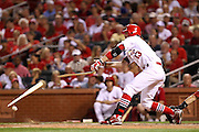 29 June 2010: St. Louis Cardinals shortstop Brendan Ryan (13) breaks his bat on a ground ball against the Arizona Diamondbacks  at Busch Stadium in St. Louis, Missouri. The Cardinals would win 8-0 over Arizona.