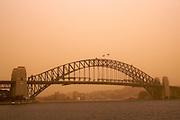 Dust Storm, Sydney, Australia. Harbour Bridge & Opera House &  general views.