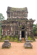 Carved reliefs on the 10th century Cham tower (B5) at the My Son Sanctuary, Quan Nam Province, Vietnam, Southeast Asia