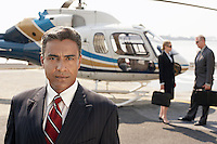 Businesspeople by helicopter