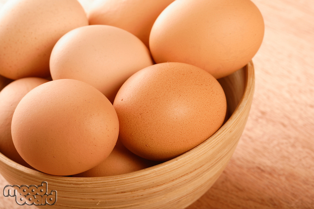 Close up of eggs in bowl