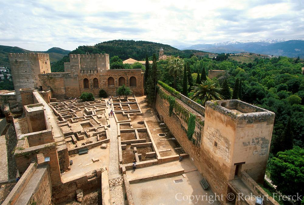 SPAIN, ANDALUSIA, GRANADA Alhambra; the Alcazaba fortress
