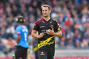 Lewis Gregory of Somerset during the Vitality T20 Finals Day Semi Final 2018 match between Worcestershire Rapids and Lancashire Lightning at Edgbaston, Birmingham, United Kingdom on 15 September 2018.