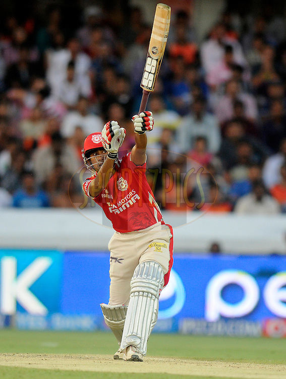 Wriddhiman Saha of the Kings X1 Punjab bats during match 39 of the Pepsi Indian Premier League Season 2014 between the Sunrisers Hyderabad and the Kings XI Punjab held at the Rajiv Gandhi Cricket Stadium, Hyderabad, India on the 14th May  2014<br /> <br /> Photo by Pal Pillai / IPL / SPORTZPICS<br /> <br /> <br /> <br /> Image use subject to terms and conditions which can be found here:  http://sportzpics.photoshelter.com/gallery/Pepsi-IPL-Image-terms-and-conditions/G00004VW1IVJ.gB0/C0000TScjhBM6ikg