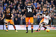 Fulham's Sone Aluko attacking during the EFL Sky Bet Championship match between Fulham and Sheffield Wednesday at Craven Cottage, London, England on 19 November 2016. Photo by Jarrod Moore.