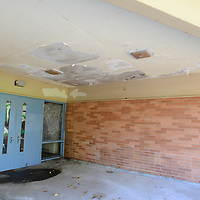 Entryway with ceiling damage at Clarendon Elementary School.