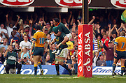 Breyton Paulse and Victor Matfield celebrate Victors try during the Tri Nations match, South Africa vs Australia at the ABSA Stadium  in Durban South Africa, 21 August 2004.  The Springboks won 23-19 <br />Please credit: Photosport