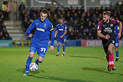AFC Wimbledon striker Joe Pigott (39) dribbling during the EFL Sky Bet League 1 match between AFC Wimbledon and Peterborough United at the Cherry Red Records Stadium, Kingston, England on 18 January 2020.