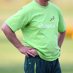 DURBAN, SOUTH AFRICA - MAY 27:  Springbok coach Heyneke Meyer during the South African national rugby team training session and media briefing at Northwood School on May 27, 2013 in Durban, South Africa. (Photo by Steve Haag/Gallo Images)