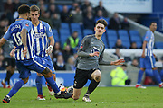 Coventry City player Tom Bayliss (30) tackles Brighton and Hove Albion defender Connor Goldson (18) during the The FA Cup match between Brighton and Hove Albion and Coventry City at the American Express Community Stadium, Brighton and Hove, England on 17 February 2018. Picture by Phil Duncan.