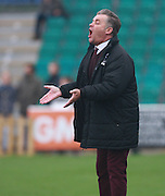 Whitehawk Manager Steve King stretches is vocal chords during the The FA Cup match between Whitehawk FC and Lincoln City at the Enclosed Ground, Whitehawk, United Kingdom on 8 November 2015. Photo by Bennett Dean.