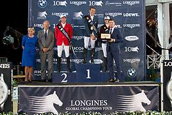 Podium GCT Antwerp<br /> 1. Simon Delestre, (FRA)<br /> 2. Hans-Dieter Dreher, (GER)<br /> 3. Edwina Alexander, (AUS)<br /> Grand Prix CSI 5*<br /> receiving the prizes from Mrs De Backer, Eric Thoelen (CEO Merrit Capital and President of Jumping Antwerp) and Mr. Stefan D'Hondt (Longines BeLux)<br /> Longines Global Champions Tour - Antwerp 2015<br />  © Hippo Foto - Dirk Caremans<br /> 25/04/15