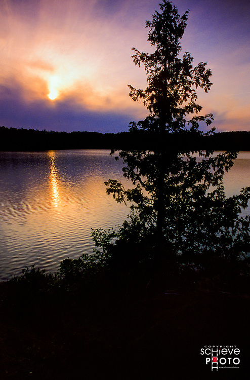 Sunset in the Quetico Provincial Park, Canada.