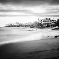 Laguna Beach Shaw's Cove black and white photo. Laguna Beach is a Southern California beach city along the Pacific Ocean in Orange County.
