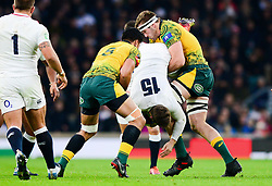 Izack Rodda of Australia makes a tip tackle on Elliot Daly of England - Mandatory by-line: Dougie Allward/JMP - 24/11/2018 - RUGBY - Twickenham Stadium - London, England - England v Australia - Quilter Internationals