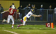 Central DeWitt's Mitchell Green (11) dives into the end zone for at touchdown as Marion's Tyler Gunderson (5) gives chase during their second round playoff football game at Thomas Park Field in Marion on Monday, October 29, 2012.