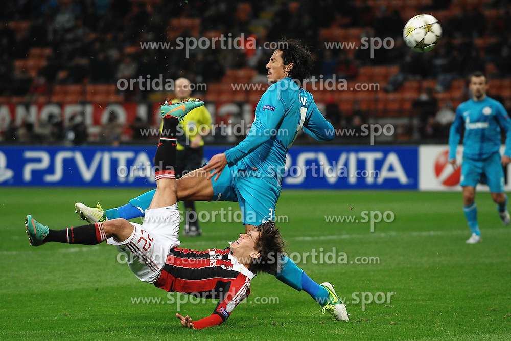 04.12.2012, Giuseppe-Meazza-Stadion, Mailand, ITA, UEFA CL, AC Mailand vs Zenit St. Petersburg, Gruppe C, im Bild rovesciata di Bojan Krkic Milan, Bruno Alves Zenit // during UEFA Champions League group C match between AC Milan and Zenit St. Petersburg at the Giuseppe-Meazza-Stadion, Milan, Italy on 2012/12/04. EXPA Pictures © 2012, PhotoCredit: EXPA/ Insidefoto/ Andrea Staccioli..***** ATTENTION - for AUT, SLO, CRO, SRB, BIH and SWE only *****