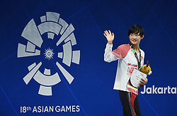 JAKARTA, Aug. 19, 2018  Li Bingjie attends the awarding ceremony for the Women's 1500m Freestyle final in the 18th Asian Games in Jakarta, Indonesia, Aug. 19, 2018. Li won the silver medal. Wang Jianjiahe of China won the gold medal. (Credit Image: © Li Xiang/Xinhua via ZUMA Wire)