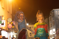 25/10/2015 Macnas on the streets of Galway. &lsquo;The Shadow Lighter&rsquo; featured the new Macnas character of Danu &ndash; a 15 ft high wild woman, the shadow lighter mistress of old stories, magic and medicine. Alongside her walked Danu&rsquo;s spirit animal, The Wolf of Danu, a beautiful, strong and fierce wolf, circling around Danu to protect her.  <br /> <br /> DUBLIN MONDAY NIGHT.<br /> Macnas will close the Bram Stoker Festival at twilight on Monday 26th October. In what is set to be another breath-taking citywide procession, Dublin&rsquo;s city streets will transform as the journey of Danu takes place, beginning in 3 city centre locations at 5.30pm with a final gathering in Wolfe Tone Square. This is a deadly adventure given life on the streets of Dublin.  Procession routes will be available to see and download from bramstokerfestival.com .Photo:Andrew Downes, xposure