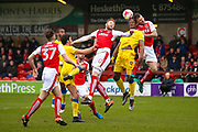 AFC Wimbledon forward Tom Elliott (9) challenges for the free kick with Fleetwood Town Defender Ashley Eastham (5) during the EFL Sky Bet League 1 match between Fleetwood Town and AFC Wimbledon at the Highbury Stadium, Fleetwood, England on 18 March 2017. Photo by Simon Davies.