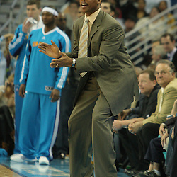 30 January 2009: New Orleans Hornets coach Byron Scott instructs his team from the bench during a 91-87 loss by the New Orleans Hornets to Golden State Warriors at the New Orleans Arena in New Orleans, LA.