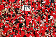 Utes fans in the student section are decked out in red during Utah's NCAA college football game against UNLV at Rice-Eccles Stadium, Saturday, Sept. 11, 2010, in Salt Lake City, Utah.  (AP Photo/Colin E. Braley)