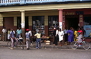 People shopping in small town street, Jamaica circa 1990