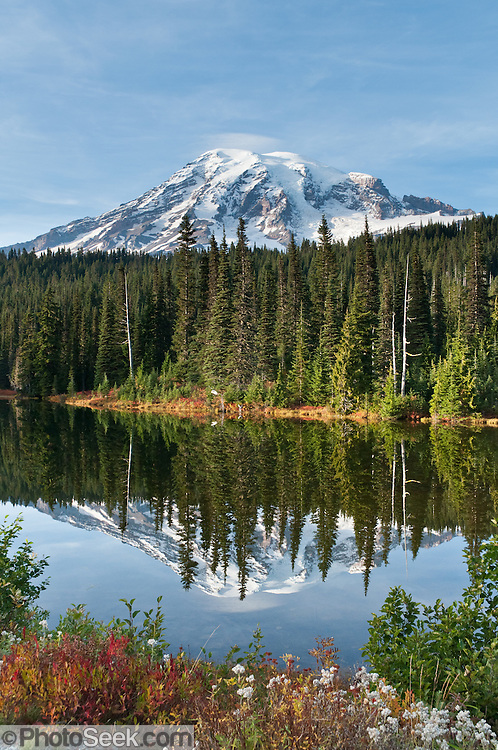 Reflection Lakes (4854 feet), Lakes Trail, Mazama Ridge, on the park road southeast of Paradise, Mount Rainier National Park, Washington, USA.