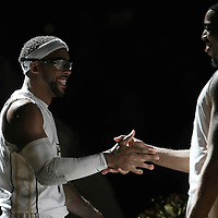 Central Florida guard Marcus Jordan (L) and Dwight McCombs (R) during introductions to a Conference USA NCAA basketball game between the Marshall Thundering Herd and the Central Florida Knights at the UCF Arena on January 5, 2011 in Orlando, Florida. Central Florida won the game 65-58 and extended their record to 14-0.  (AP Photo/Alex Menendez)