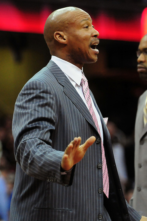 March 29, 2010; Cleveland, OH, USA; Cleveland Cavaliers head coach Byron Scott argues a call during the fourth quarter against the Miami Heat at Quicken Loans Arena. The Cavaliers beat the Heat 102-90. Mandatory Credit: Jason Miller-US PRESSWIRE