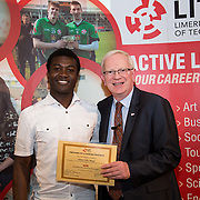 24.05.2017      <br /> LIT GO4IT and GIVE Volunteer Awards 2017. Pictured receiving their GIVE Award from Prof. Vincent Cunnane, President LIT was Chinazo John Nnaya. Picture: Alan Place.