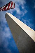 USA, Washington, DC. A low angle view of the obelisk built on the National Mall, Washington, DC to honor George Washington.